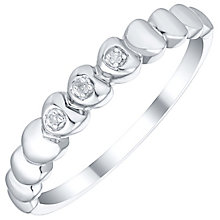 Sterling Silver Diamond Set Heart Stacker Ring - Product number 5137780