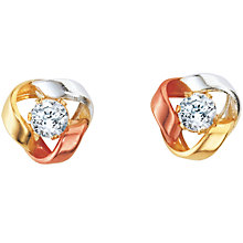 Three-colour Gold Cubic Zirconia Earrings - Product number 5137977