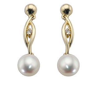 9ct Gold Cultured Freshwater Pearl Swirl Drop Earrings - Product number 5138965