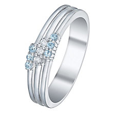 Sterling Silver Blue Topaz & Diamond Ring - Product number 5140390