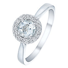 Sterling Silver Aquamarine & Diamond Ring - Product number 5140536