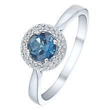 Sterling Silver London Blue Topaz & Diamond Ring - Product number 5140668