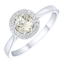 Sterling Silver Morganite & Diamond Ring - Product number 5141192