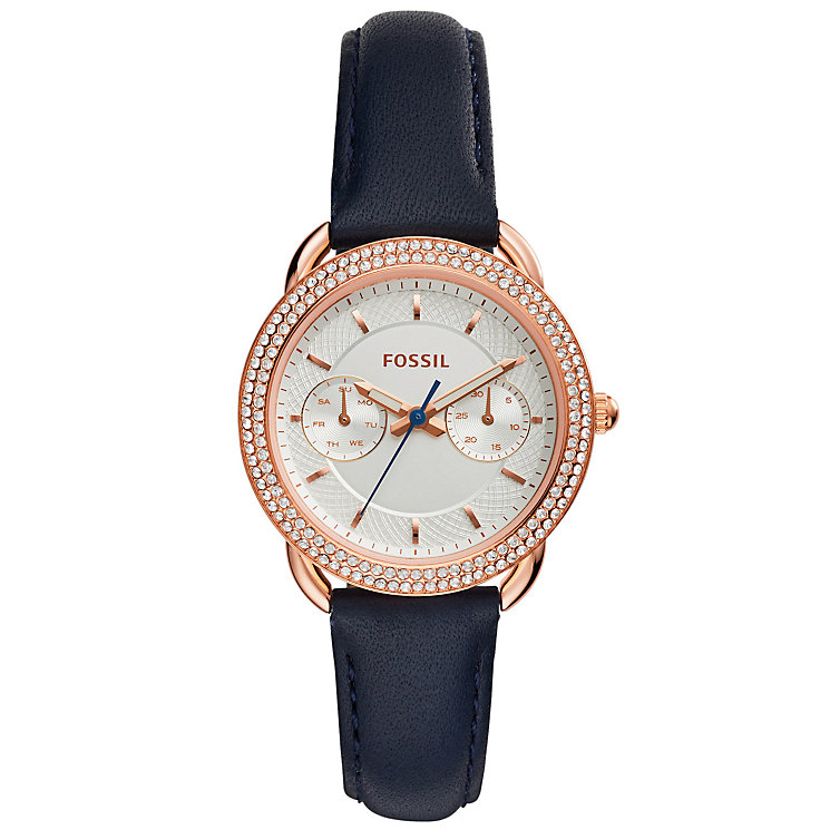 Fossil Tailor Ladies' Rose Gold Tone Stone Set Strap Watch - Product number 5141648