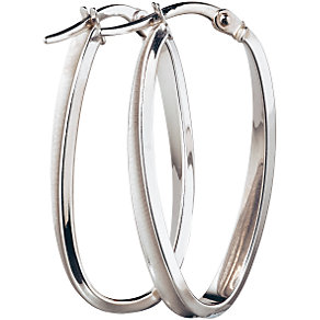9ct White Gold Creole Twist Earrings - Product number 5141702