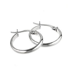 9ct White Gold 18mm Creole Earrings - Product number 5141710