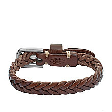 Fossil Men's Stainless Steel Leather Bracelet - Product number 5142180