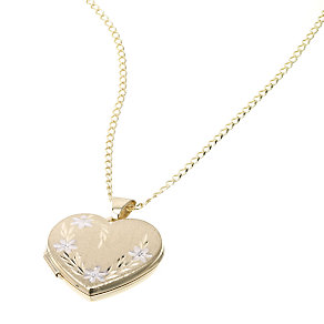 9ct Gold Large Diamond Cut Heart Locket - Product number 5157897