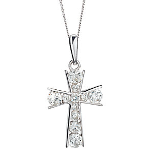 9ct White Gold Cubic Zirconia Cross - Product number 5158117