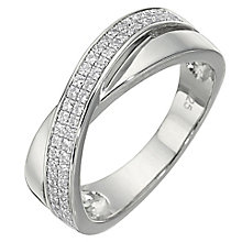 Sterling Silver Cubic Zirconia Ring Size M - Product number 5158354