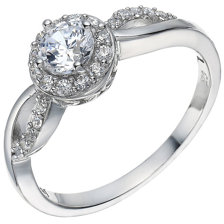 Sterling Silver Cubic Zirconia Solitaire Halo Ring Size M - Product number 5158389