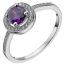 Sterling Silver Purple Cubic Zirconia Halo Ring Size M - Product number 5158419