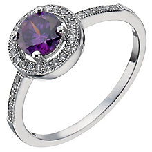 Sterling Silver Purple Cubic Zirconia Halo Ring Size O - Product number 5158427
