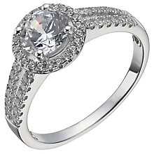 Sterling Silver Cubic Zirconia Halo Ring Size O - Product number 5158486