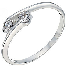 Sterling Silver Cubic Zirconia 2 Stone Ring Size M - Product number 5158885