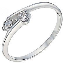 Sterling Silver Cubic Zirconia 2 Stone Ring Size O - Product number 5158966