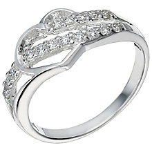 Sterling Silver Cubic Zirconia Cut Out Heart Ring Size M - Product number 5159059