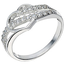 Sterling Silver Cubic Zirconia Cut Out Heart Ring Size O - Product number 5159067