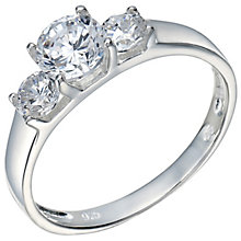 Sterling Silver Cubic Zirconia 3 Stone Ring Size O - Product number 5159091