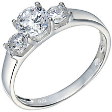 Sterling Silver Cubic Zirconia 3 Stone Ring Size K - Product number 5159253