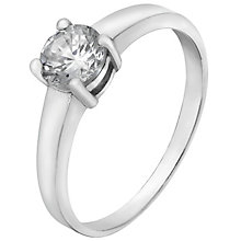 Sterling Silver & Cubic Zirconia Solitaire Ring Size O - Product number 5159288