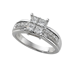 18ct white gold one carat princess cut diamond ring - Product number 5161762