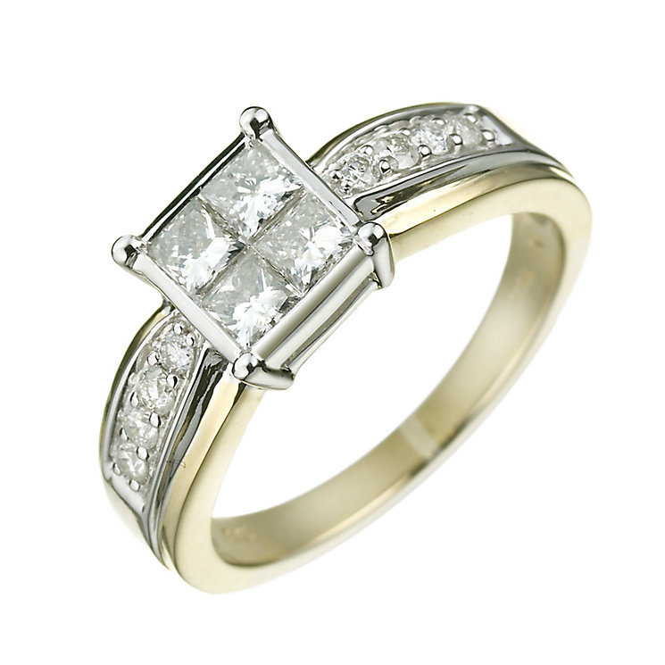 18ct gold one carat princess and brilliant cut diamond ring - Product number 5161827