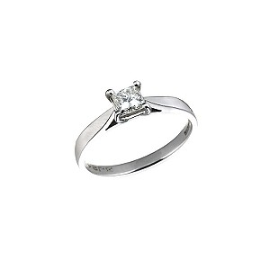 18ct white gold half carat diamond solitaire ring - Product number 5163951