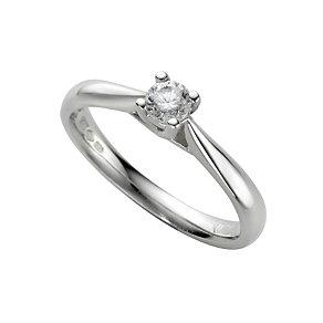 Platinum quarter carat diamond solitaire ring - Product number 5165601