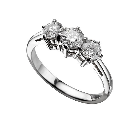 Platinum one carat diamond three stone ring