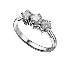Platinum one carat diamond three stone ring - Product number 5166004