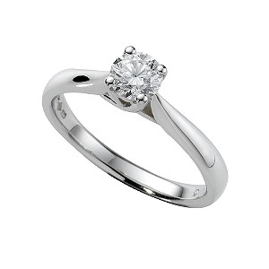 Platinum half carat diamond solitaire ring - Product number 5166144