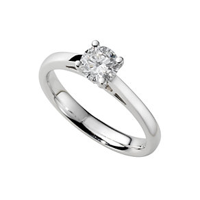 18ct white gold half carat diamond solitaire ring - Product number 5166209