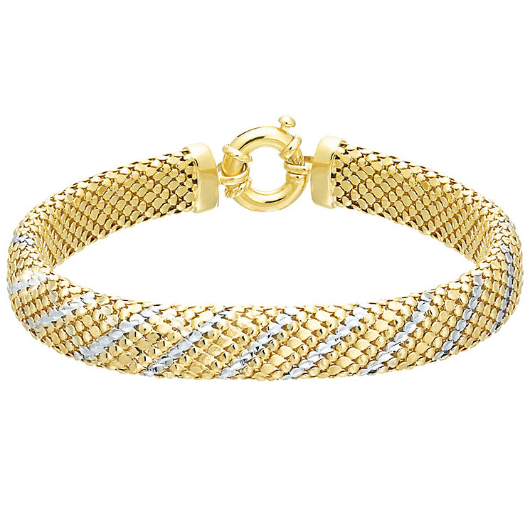 9ct Yellow Gold & Rhodium Bracelet - Product number 5168368