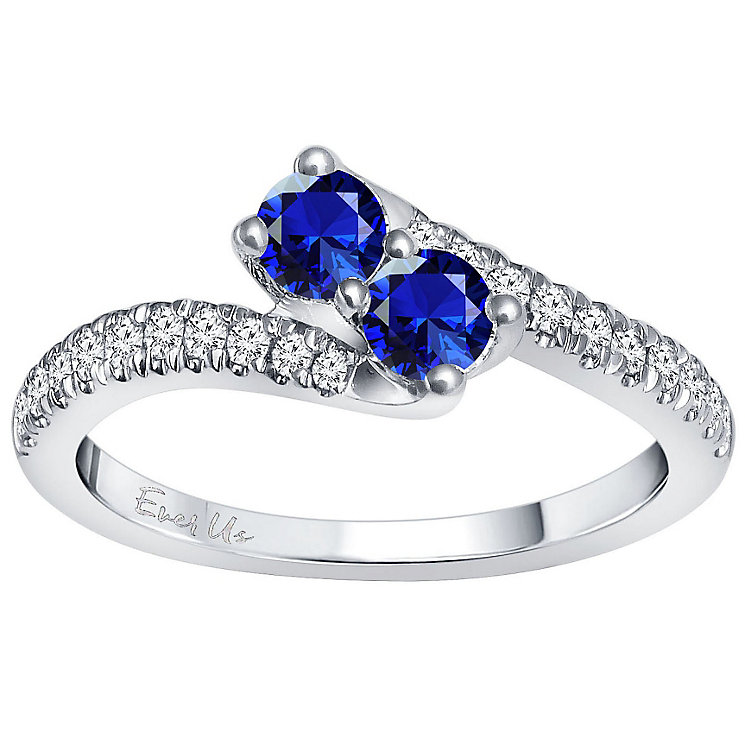 Ever Us 14ct White Gold Sapphire & 0.25ct I2 Diamond Ring - Product number 5168376