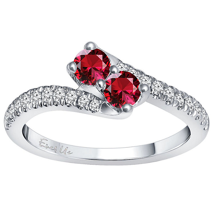 Ever Us 14ct White Gold Ruby & 0.25ct I2 Diamond Ring - Product number 5168384