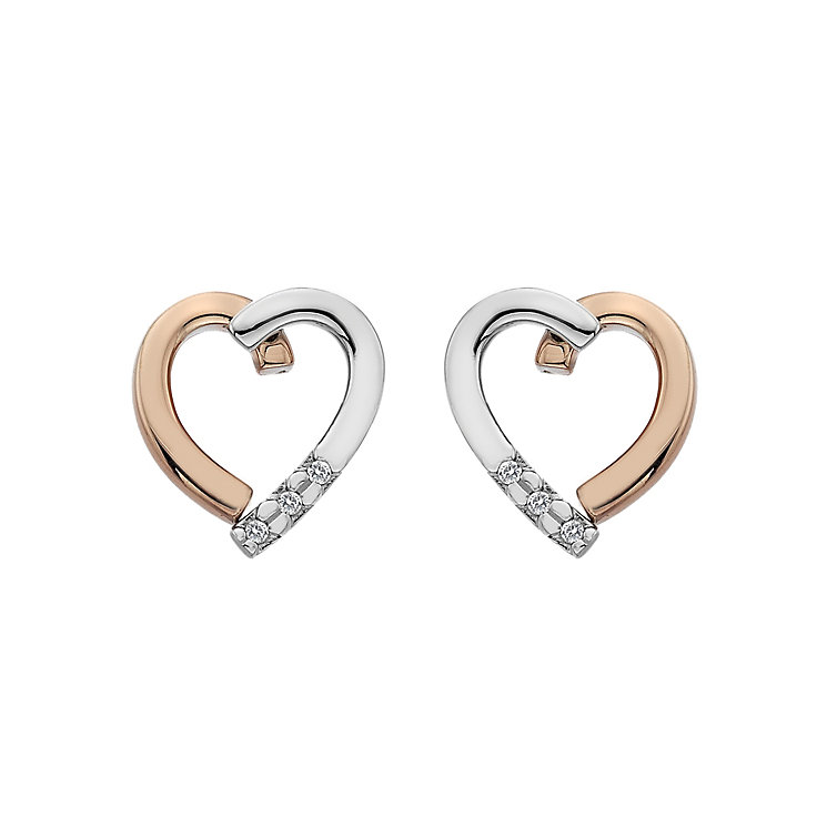 Hot Diamonds Silver & Gold-Plated Heart Stud Earrings - Product number 5168759