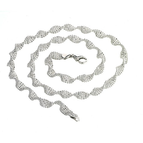 9ct white gold sparkling twist necklace