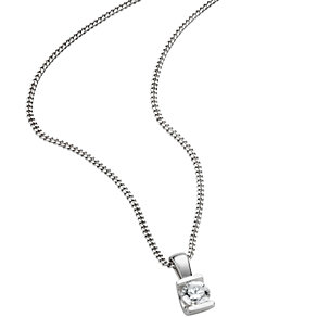 9ct white gold third carat diamond solitaire pendant - Product number 5169445