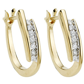 9ct gold quarter carat diamond hoop earrings - Product number 5169496