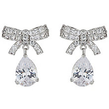 Mikey Silver Tone Crystal Bow Drop Earrings - Product number 5170451