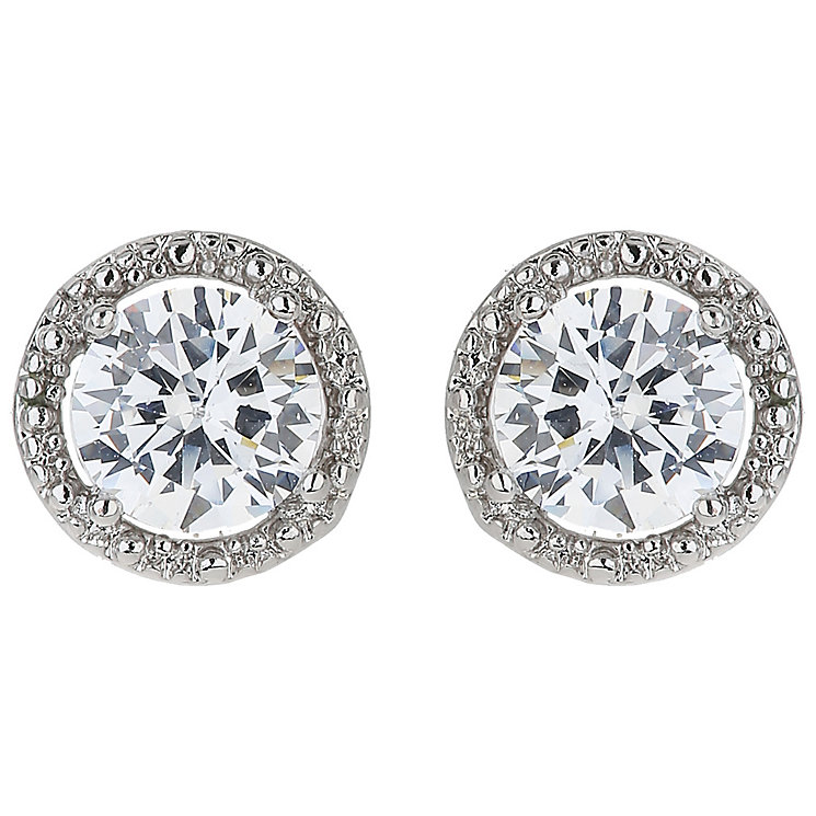 Mikey Silver Tone White Crystal Stud Earrings - Product number 5170508