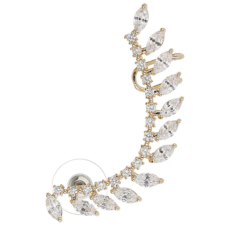 Mikey Gold Tone Cubic Zirconia Leaf Long Ear Cuff - Product number 5170559