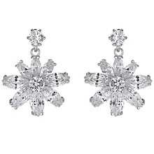 Mikey Silver Tone Cubic Zirconia Large Flower Drop Earrings - Product number 5170567