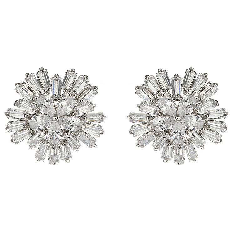 Mikey Silver Tone Cubic Zirconia Fancy Flower Stud Earrings - Product number 5170575