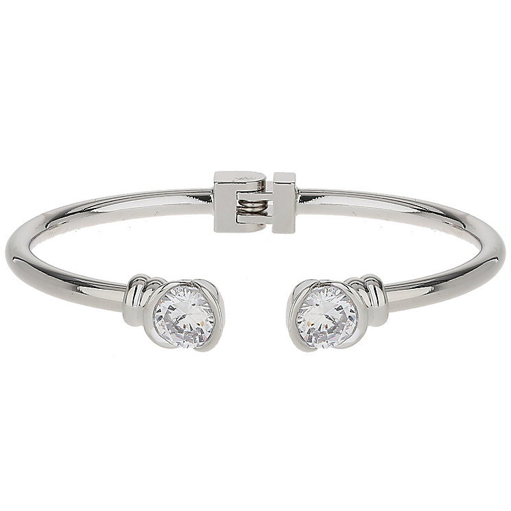 Mikey Rhodium-Plated Cubic Zirconia Hinged Bangle - Product number 5170745