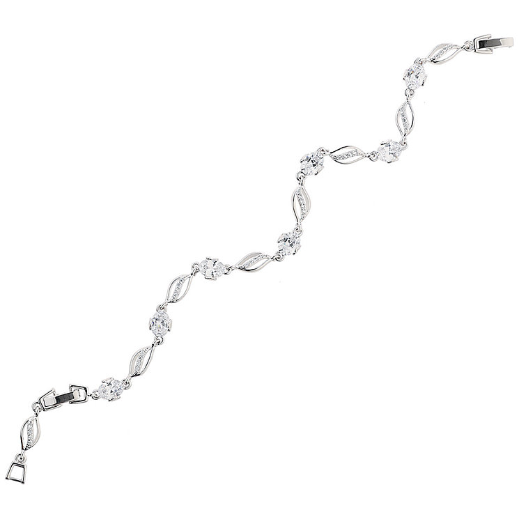 Mikey Silver Tone Curved Link Stone Set Tennis Bracelet - Product number 5170761