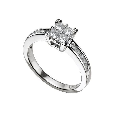 18ct white gold three quarter carat diamond cluster ring