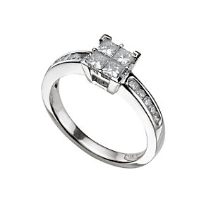 18ct white gold three quarter carat diamond cluster ring - Product number 5171946