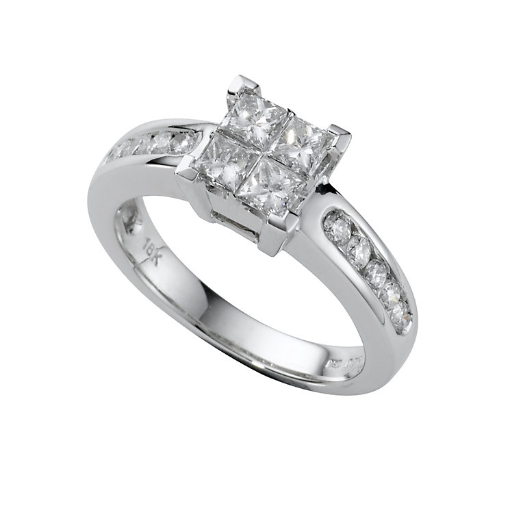 18ct white gold one carat princess cut diamond ring Ernest Jones